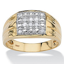 Men's Round Diamond Grid Ring 1/4 TCW in Solid 10k Yellow Gold