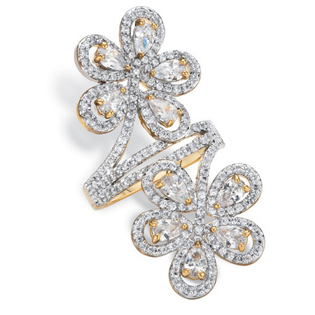 Pear Cut and Round Cubic Zirconia Double Flower Bypass Cocktail Ring 3.34 TCW 14k Gold-Plated at PalmBeach Jewelry