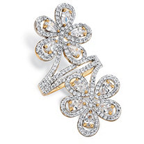 Pear Cut and Round Cubic Zirconia Double Flower Bypass Cocktail Ring 3.34 TCW 14k Gold-Plated