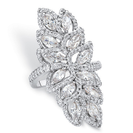 Marquise-Cut Cubic Zirconia Halo Leaf Cocktail Ring 4.14 TCW Platinum-Plated at PalmBeach Jewelry