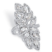 Marquise-Cut Cubic Zirconia Halo Leaf Cocktail Ring 4.14 TCW Platinum-Plated