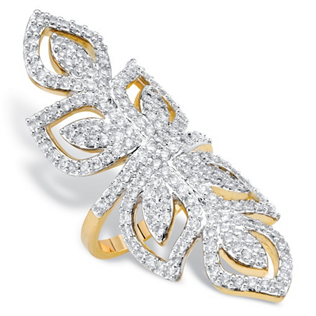 Round Cubic Zirconia Openwork Wraparound Leaf Cocktail Ring 2.70 TCW 14k Gold-Plated at PalmBeach Jewelry