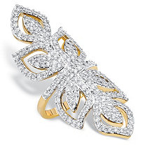 Round Cubic Zirconia Openwork Wraparound Leaf Cocktail Ring 2.70 TCW 14k Gold-Plated