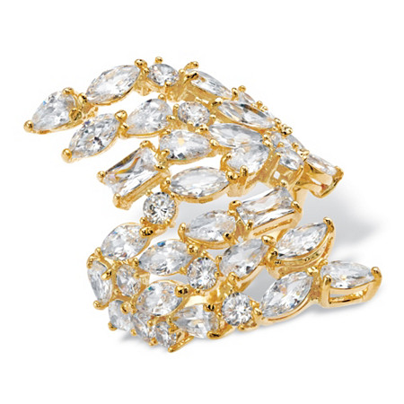 Marquise and Baguette Cubic Zirconia Bypass Cocktail Ring 6.93 TCW 14k Yellow Gold-Plated at PalmBeach Jewelry