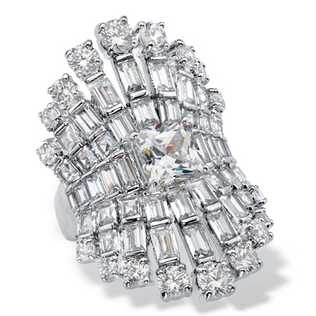 Princess and Baguette-Cut Cubic Zirconia Tapered Crown Engagement Ring 8.24 TCW Platinum-Plated at PalmBeach Jewelry