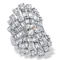 Princess and Baguette-Cut Cubic Zirconia Tapered Crown Engagement Ring 8.24 TCW Platinum-Plated