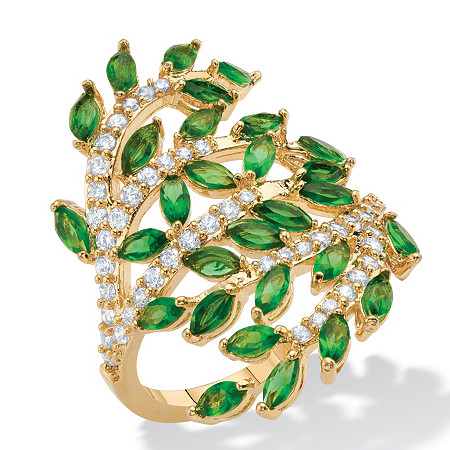 Marquise-Cut Simulated Green Emerald and CZ Wraparound Bypass Cocktail Ring 3.25 TCW 14k Gold-Plated at PalmBeach Jewelry