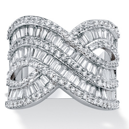 Baguette and Round Cubic Zirconia Crossover Ring 4.14 TCW Platinum-Plated. at PalmBeach Jewelry