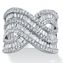 Baguette and Round Cubic Zirconia Crossover Ring 4.14 TCW Platinum-Plated.