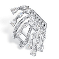 Pear-Cut and Round Cubic Zirconia Spray Cocktail Ring 3.29 TCW Platinum-Plated