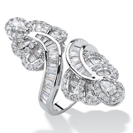 Multi-Cut Cubic Zirconia Bypass Cocktail Ring 4.32 TCW Platinum-Plated at PalmBeach Jewelry