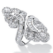 SETA JEWELRY Multi-Cut Cubic Zirconia Bypass Cocktail Ring 4.32 TCW Platinum-Plated