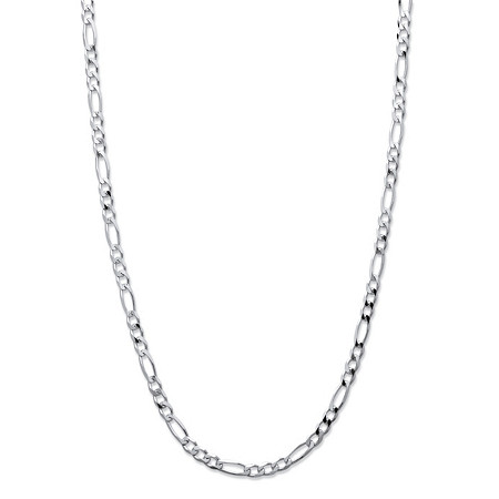 Figaro-Link Chain Necklace in Sterling Silver 24