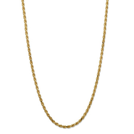"Diamond-Cut Rope Chain in 18k Yellow Gold over .925 Sterling Silver 18"" (2mm) at PalmBeach Jewelry"