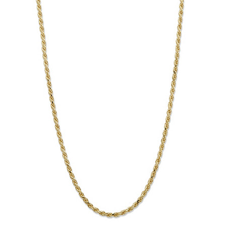 Diamond-Cut Rope Chain Necklace in 18k Yellow Gold over .925 Sterling Silver 22