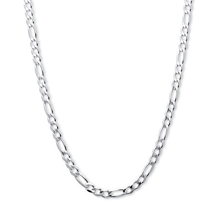 Figaro-Link Chain Necklace in .925 Sterling Silver 22