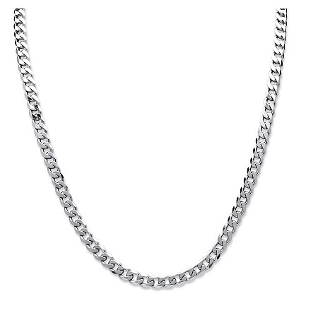 "Curb-Link Chain Necklace in .925 Sterling Silver 18"" (8mm) at PalmBeach Jewelry"
