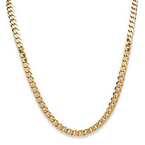 "Curb-Link Chain Necklace in 18k Yellow Gold over Sterling Silver 24"" (6.5mm)"
