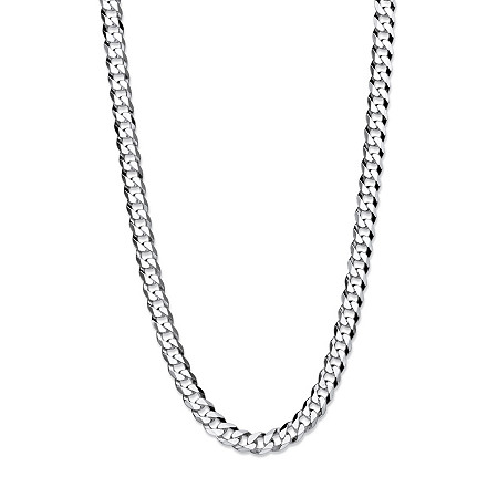 Polished Curb-Link Flat Profile Chain Necklace in .925 Sterling Silver 18