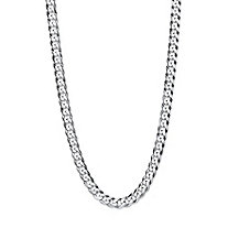 "Polished Curb-Link Flat Profile Chain Necklace in .925 Sterling Silver 18"" (6.5mm)"