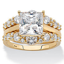 Princess-Cut Cubic Zirconia 2-Piece Jacket Wedding Ring Set 3.52 TCW in 18k Yellow Gold over Sterling Silver
