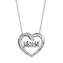 "Round CZ in Motion Cubic Zirconia ""MOM"" Open Heart Pendant Necklace .79 TCW in Sterling Silver 18"""