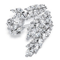 Marquise-Cut Cubic Zirconia Leaf Spray Cocktail Ring 5.75 TCW in Sterling Silver