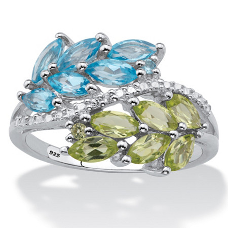 Marquise-Cut Genuine Sky Blue Topaz and Green Peridot Leaf Motif Ring in 1.70 TCW in Sterling Silver at PalmBeach Jewelry