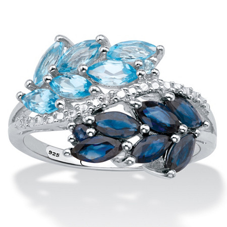 Marquise-Cut Genuine Topaz and Sapphire Leaf Motif Ring 1.75 TCW in Platinum over Sterling Silver at PalmBeach Jewelry