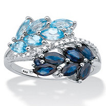 Marquise-Cut Genuine Topaz and Sapphire Leaf Motif Ring 1.75 TCW in Platinum over Sterling Silver
