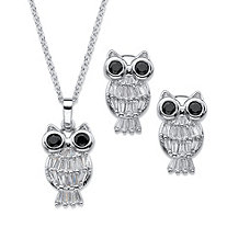 Tapered Baguette CZ and Round Black Crystal 2-Pc. Owl Pendant and Earrings Set 2.40 TCW Platinum-Plated 18