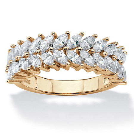 Marquise-Cut Cubic Zirconia Double Row Leaf Ring 2.60 TCW in 14k Yellow Gold over Sterling Silver at PalmBeach Jewelry