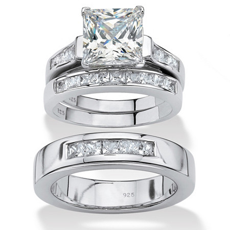 His and Hers Cubic Zirconia Trio Wedding Set 4.55 TCW in Platinum over Sterling Silver at PalmBeach Jewelry