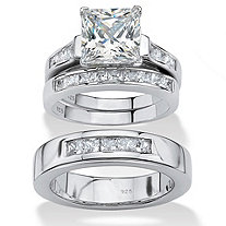 4.55 TCW His and Hers Cubic Zirconia Trio Wedding Set in Platinum over Sterling Silver