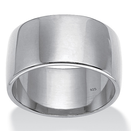 Polished Wide Wedding Band in Platinum over Sterling Silver (11.5mm) at PalmBeach Jewelry