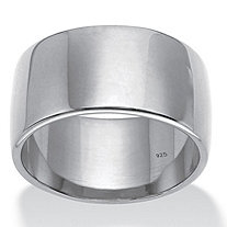 SETA JEWELRY Polished Wide Wedding Band in Platinum over Sterling Silver (11.5mm)