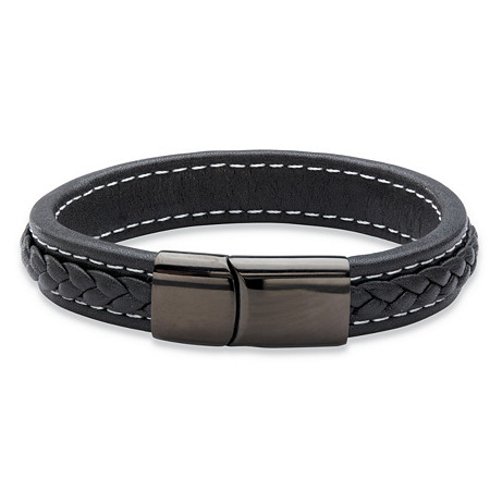 Genuine Black Leather Magnetic Bracelet With Black Ruthenium-Plated Stainless Steel 7.75