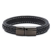 Men's Genuine Black Leather Magnetic Bracelet With Black Ruthenium-Plated Stainless Steel 7.75""