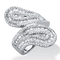 Baguette-Cut Cubic Zirconia Channel-Set Bypass Ring 3.41 TCW Platinum-Plated