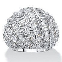 SETA JEWELRY Baguette-Cut and Round Cubic Zirconia Dome Ring 9.79 TCW Platinum-Plated