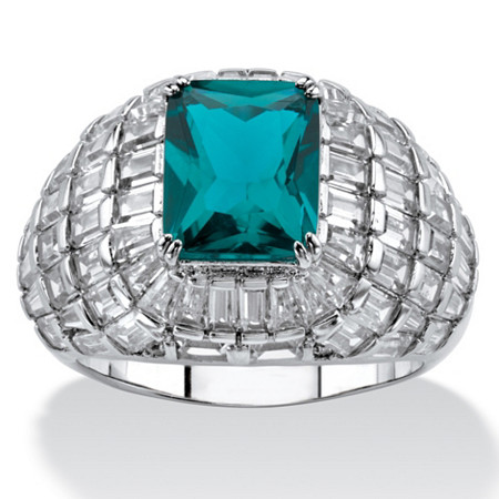 Emerald-Cut Simulated London Blue Topaz and Cubic Zirconia Step-Top Baguette Dome Ring 10.51 TCW Platinum-Plated at PalmBeach Jewelry