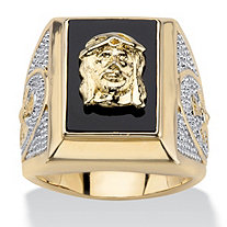 Men's Genuine Onyx Jesus and Cross Two-Tone Ring Gold-Plated