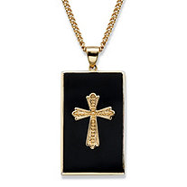 Men's Genuine Black Onyx Cabochon Cross Pendant Necklace 14k Gold-Plated 22""