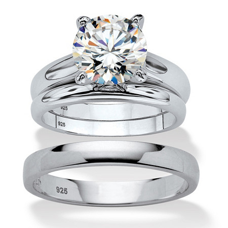Round Cubic Zirconia 3-Piece His and Hers Trio Wedding Ring Set 3 TCW in Sterling Silver at PalmBeach Jewelry