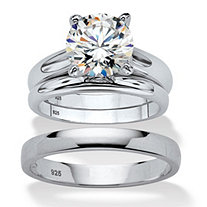 Round Cubic Zirconia 3-Piece His and Hers Trio Wedding Ring Set 3 TCW in Sterling Silver