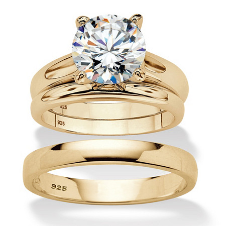 Round Cubic Zirconia 3-Piece His and Hers Trio Wedding Ring Set 3 TCW in Gold Over Sterling Silver at PalmBeach Jewelry