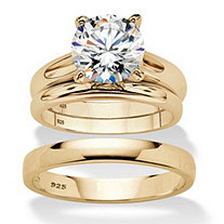 Round Cubic Zirconia 3-Piece His and Hers Trio Wedding Ring Set 3 TCW in Gold Over Sterling Silver