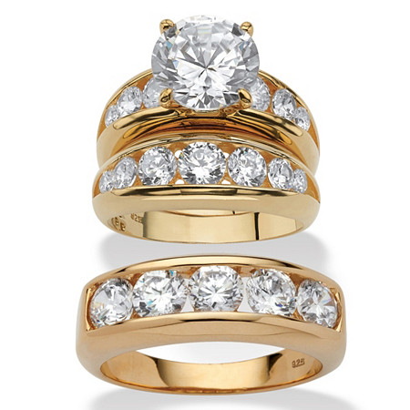 Round Cubic Zirconia 3-Piece His and Hers Trio Wedding Ring Set 8.59 TCW in 14k Gold Over Sterling Silver at PalmBeach Jewelry