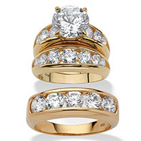 Round Cubic Zirconia 3-Piece His and Hers Trio Wedding Ring Set 8.59 TCW in 14k Gold Over Sterling Silver