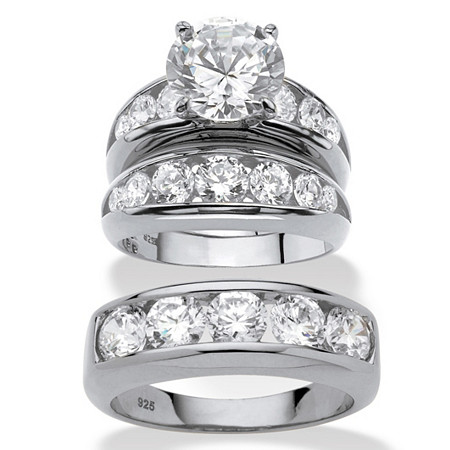 Round Cubic Zirconia 3-Piece His and Hers Trio Wedding Ring Set 8.59 TCW in Sterling Silver at PalmBeach Jewelry
